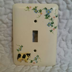 Vintage Painted Metal Cow Flower Light Switch Cove